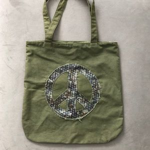 Tote Distressed Bag Peace Sign Sequins Canvas